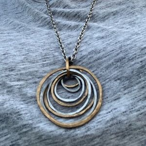 Vintage Jewelry - Long vintage necklace, large silver & gold circles